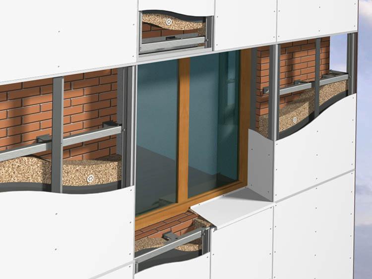 Навесные, вентилируемые фасадные системы.